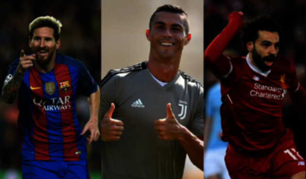 Lionel Messi, Cristiano Ronaldo y Mohamed Salah