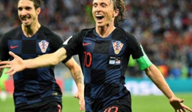 Luka Modric celebrando un gol con Croacia en Rusia 2018
