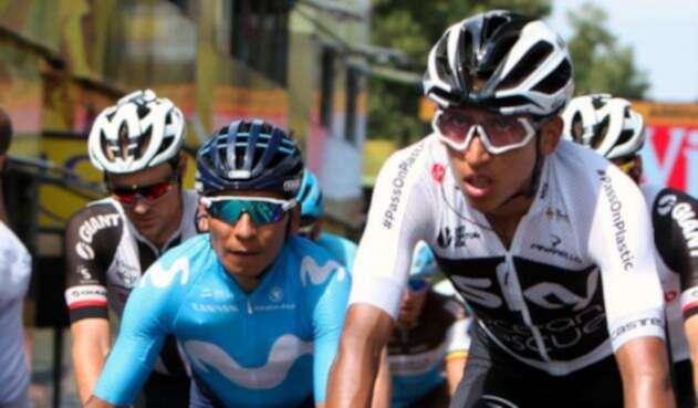 Nairo Quintana y Egan Bernal el 14 de julio de 2018 en Francia