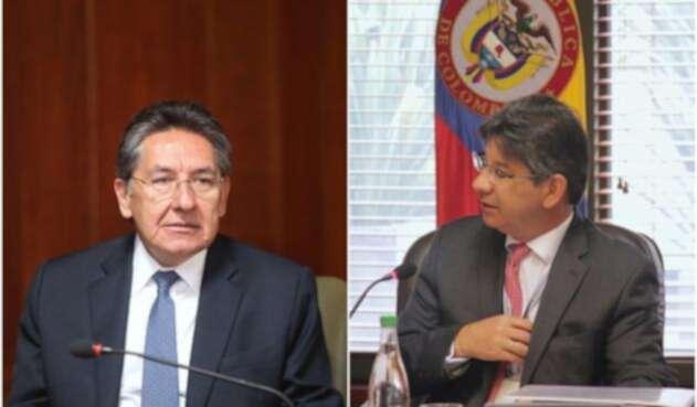 Néstor Humberto Martínez y Alejandro Linares, fiscal general y presidente de la Corte Constitucional, respecitvamente