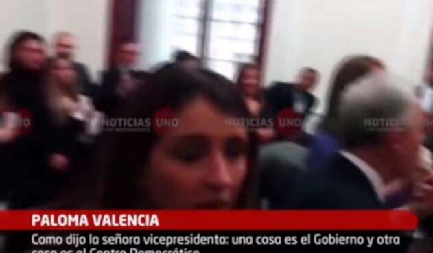 Paloma Valencia durante la celebración del Centro Democrático luego de la posesión de Iván Duque como presidente de la República