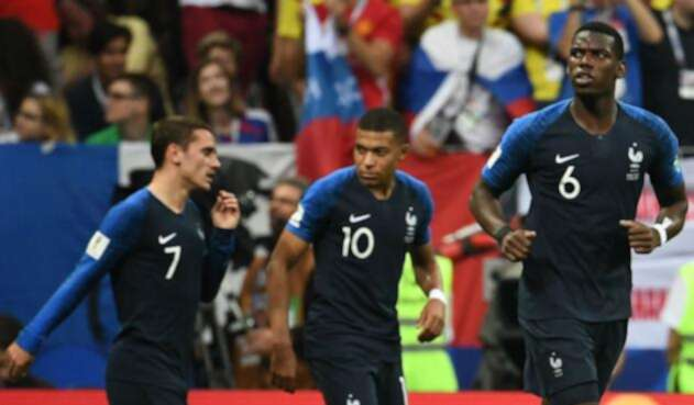 Antoine Griezmann, Kylian Mbappe y Paul Pogba con Francia en Rusia 2018