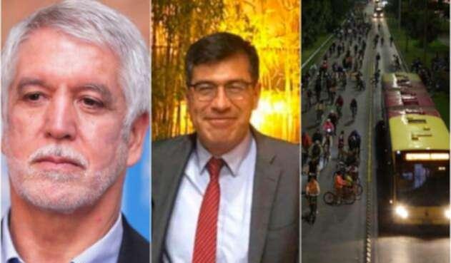 Enrique Peñalosa, alcalde de Bogotá; Álvaro Torres, el funcionario del Banco de la República asesinado y una imagen de la ciclovía noctuna en la capital