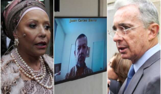 La exsenadora Piedad Córdoba, el paramilitar Juan Carlos Sierra, alias 'El Tuso' y Álvaro Uribe, expresidente de la República