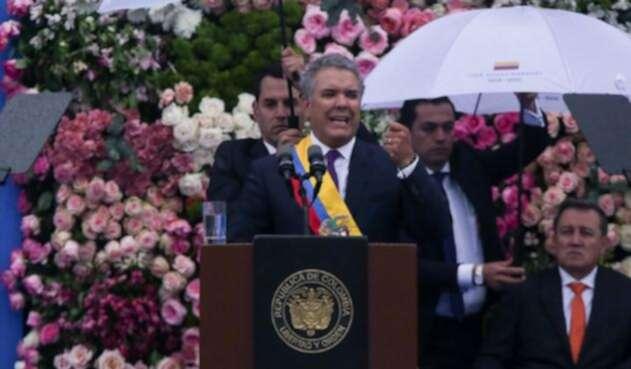 Iván Duque en medio de su posesión como presidente de Colombia.