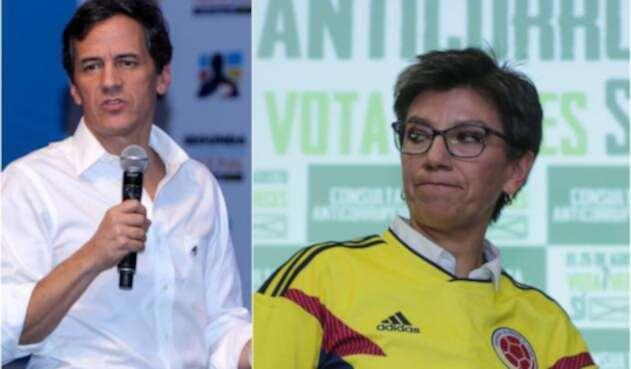 Rafael Nieto Loaiza, ex preaspirante presidencial por el Centro Democrático, y Claudia López, excongresista
