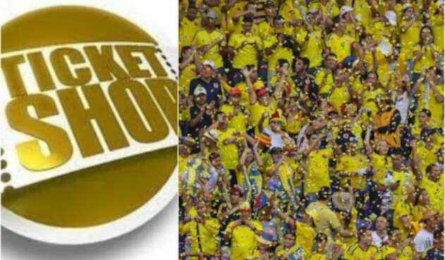 Imagen de la marca Ticket Shop y de hinchas de la Selección Colombia en Barranquilla
