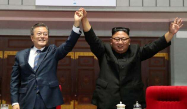 Moon Jae-in y Kim Jong Un