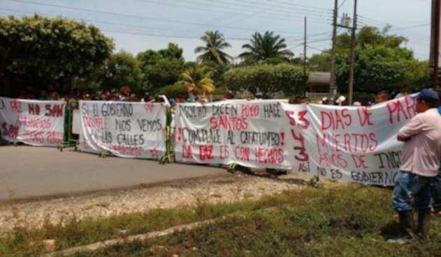 Protesta Social en el Catatumbo en la vía que comunica a Cúcuta con la Costa