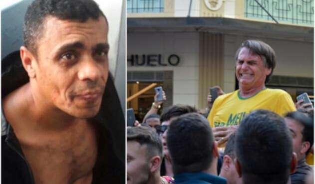 Adélio Bispo de Oliveira, el agresor, y Jair Bolsonaro justo cuando era apuñalado