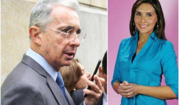 El senador Álvaro Uribe y la presentadora Mónica Rodríguez
