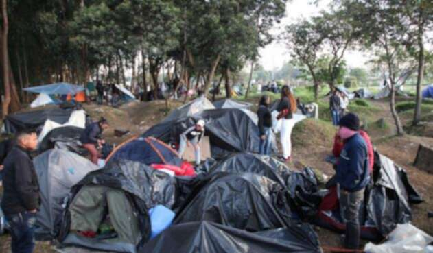Campamento de venezolanos en El Salitre