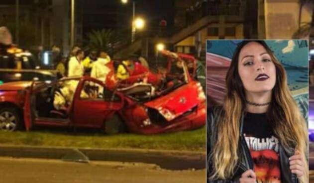 Irlanda Meléndez y el vehículo Volkswagen Jetta en el que se movilizaban los cuatro jóvenes en Bogotá