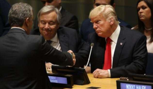Iván Duque y Donald Trump se saludan en Nueva York (Estados Unidos)
