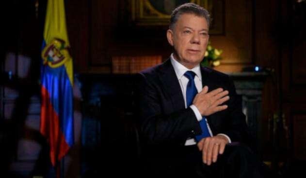 El expresidente Juan Manuel Santos cuando aún estaba en la Casa de Nariño, en Bogotá