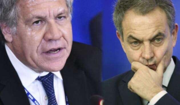 El secretario general de la OEA, Luis Almagro, y el expresidente del gobierno español José Luis Rodríguez Zapatero