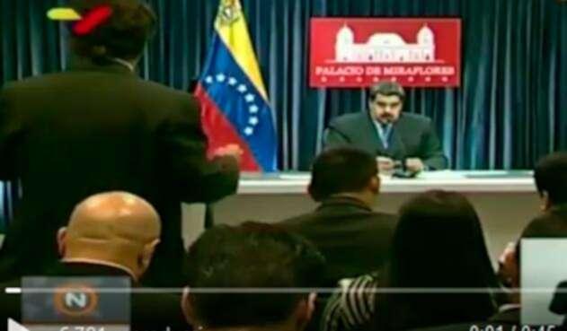 Nicolás Maduro, presidente de Venezuela, en la rueda de prensa