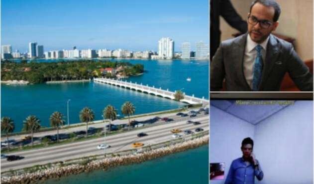 De izquierda a derecha: la ciudad de Miami, Abelardo de la Espriella y Alejandro Lyons Muskus