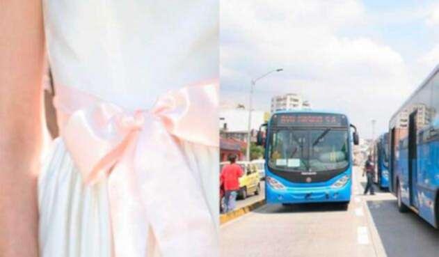 La funcionaria pública llega a su matrimonio en un bus del Mío