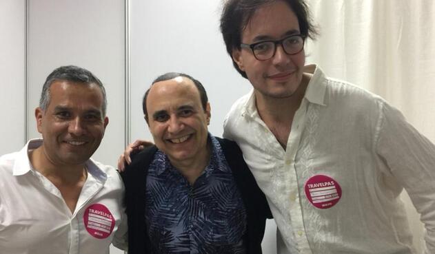 De izquierda a derecha: Orlando Rivera, productor general del programa Los Originales. Michel Camilo, pianista y Emilio Sánchez, integrante del programa Los Originales