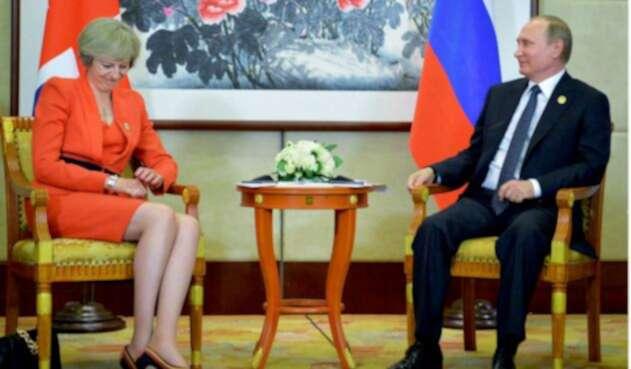 Theresa May y Vladimir Putin, en medio del caso Skripal