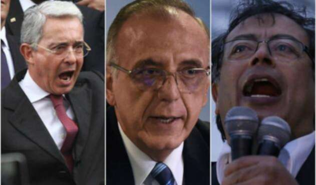Álvaro Uribe (senador), Iván Velásquez (exmagistrado) y Gustavo Petro (senador)