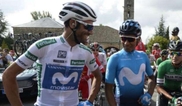 Alejandro Valverde y Nairo Quintana, pedalistas del Movistar Team
