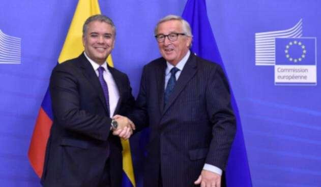 Presidente Iván Duque con el presidente de la Comisión Europea Jean-Claude Juncker