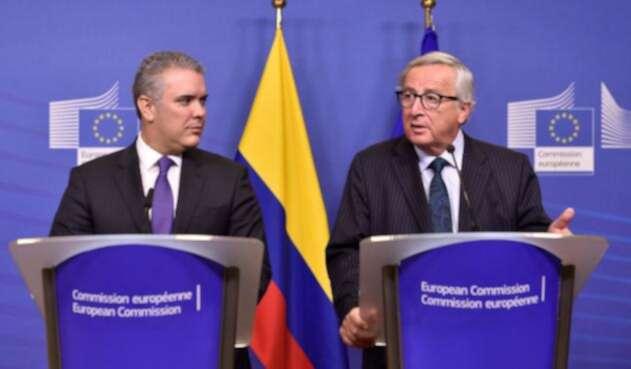 Presidente Iván Duque con el mandatario de la Comisión Europa Jean-Claude Juncker
