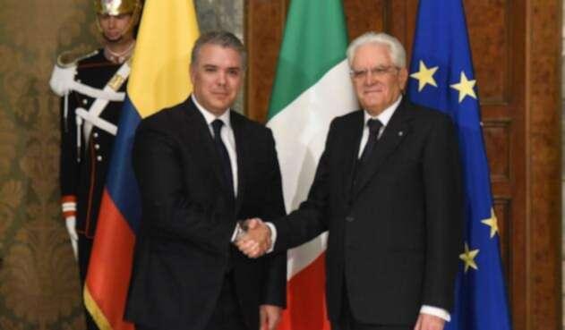 Presidente Iván Duque con el mandatrio de Italia Sergio Mattarella