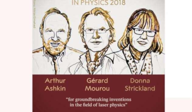 El estadounidense Arthur Ashkind, el francés Gerard Mourou y la canadiense Donna Strickland