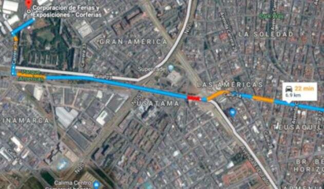 La zona en la cual un joven se lanzó de un puente vehicular, en Bogotá