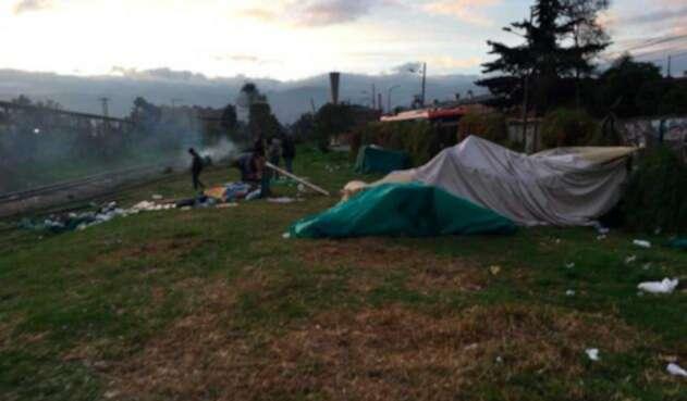 Campamento venezolanos en Bogotá