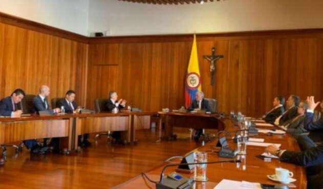 César Gaviria con José Luis Barceló en reunión de los liberales con la Corte Suprema de Justicia.