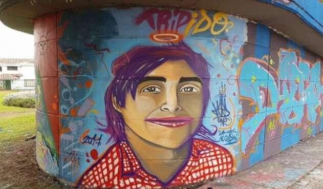 Mural pintado en honor a Tripido como era conocido Diego Felipe Becerra Lizarazo.