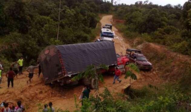 Vía Tibú-La Gabarra afectada por las fuertes lluvias de los últimos días