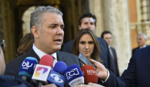 Presidente Iván Duque, durante declaraciones dadas en Roma
