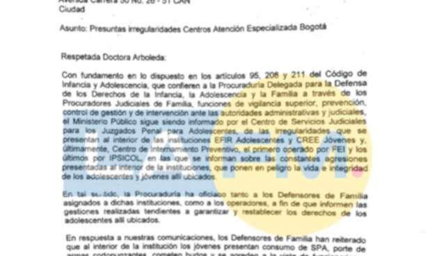 """La carta que envió la Procuraduría al ICBF sobre """"Presuntas irregularidades Centros Atención Especializada Bogotá"""""""