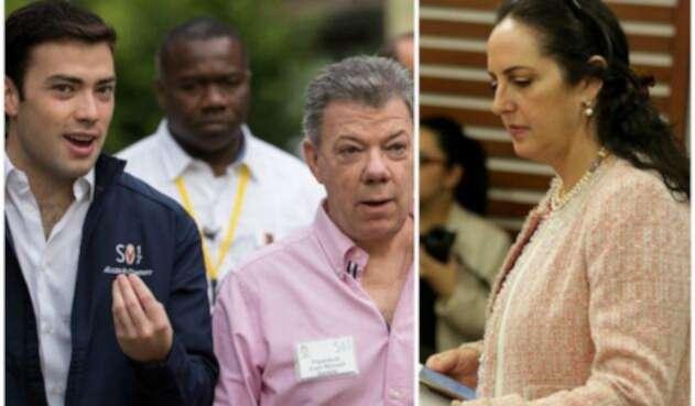 Esteban Santos, Juan Manuel Santos y María Fernanda Cabal