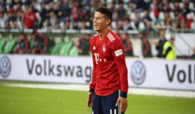 James celebra un gol con el Bayern de Múnich