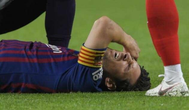 Messi tras su lesión.