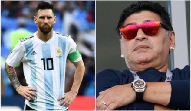 Lionel Messi y Diego Maradona en Rusia 2018