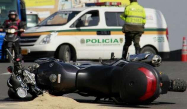 Accidente en moto en Bogotá