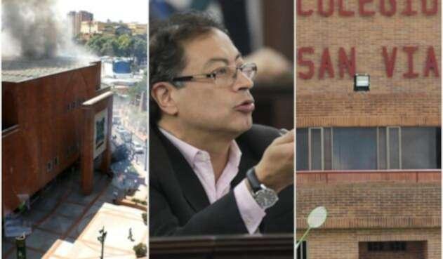 El Centro Comercial Andino, el 7 de junio de 2017; el senador Gustavo Petro y el colegio San Viator
