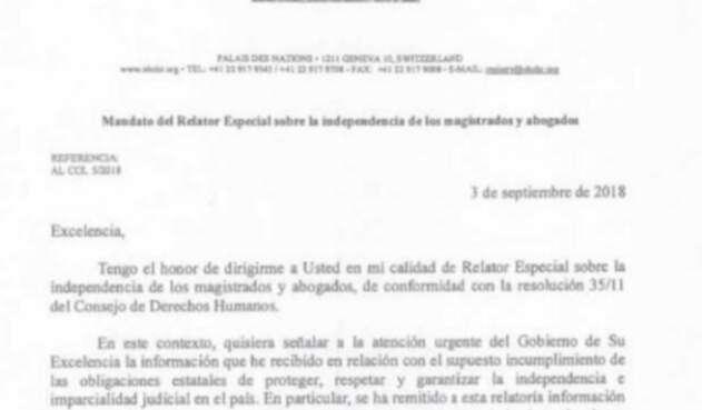 La misiva enviada por Diego García Sayán, relator de la ONU