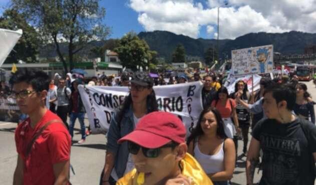 Marchas estudiantes Universidad Nacional en Bogotá
