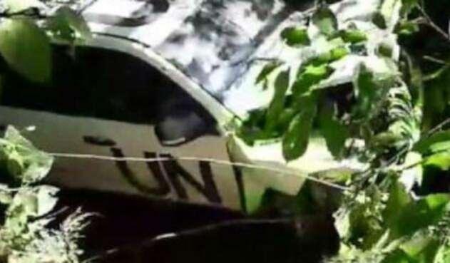 Vehículo de la ONU accidentado.