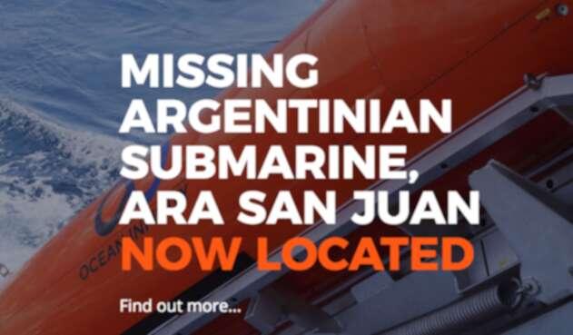Imagen publicada por Ocean Infinity tras el hallazgo del submarino Ara San Juan