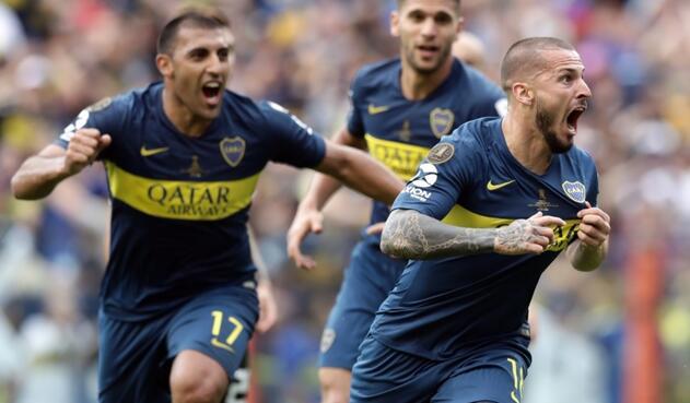 Dario Benedetto celebra un gol con Boca Juniors