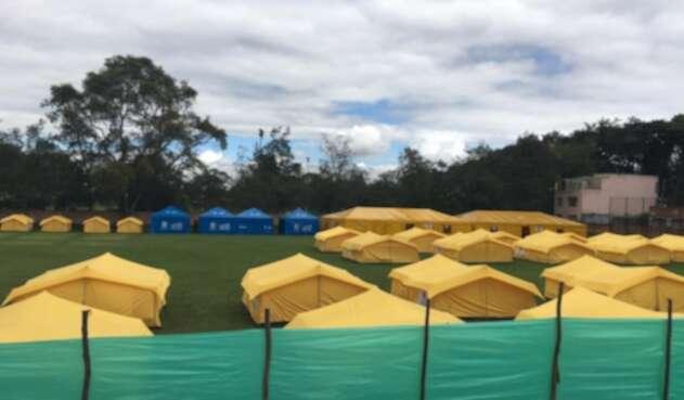 Campamentos para los venezolanos en Bogotá.